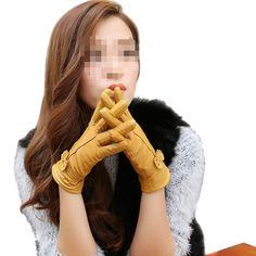 Fletion Damen Ladies Luxury Weichen Schaffell Lederhandschuhe mit Fleecefutter…