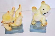 WEST GERMANY 1950's BEARS ON SQUARES PORCELAIN FIGURES