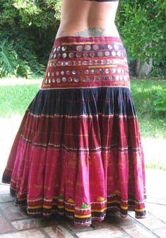 Tribal Belly Dance ATS heavy mirrored banjara skirt by wickedharem