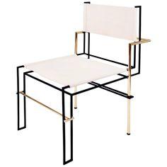 Bauhaus Casbah Chair, Functionalist Inspired, Black Brass and Vachetta Tubular For Sale