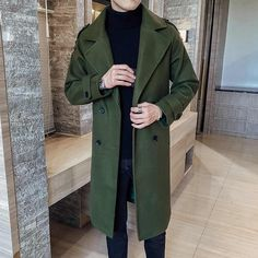 Mens Wool Trench Coat, Trench Coats, Men's Coats, Army Clothes, Dress Clothes, Casual Clothes, Casual Outfits, Outfits Winter, Green Outfits