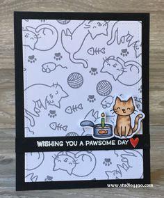 Happy Purrthday! Wishing You A Pawsome Day (Lawn Fawn) - studio 4490