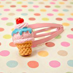 Sweet Lolita Fairy Kei Decora Kei Strawberry Ice by blacktulipshop, $3.50  #icecream #kawaii #etsy ***I love BlackTulipShop! Quality products***