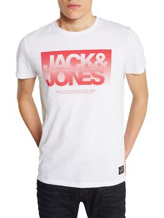 PRINTET T-SHIRT, White New T Shirt Design, Shirt Designs, Design Kaos, Polo Shirt Outfits, Hang Ten, Mens Trends, Quality T Shirts, Jack Jones, Printed Tees