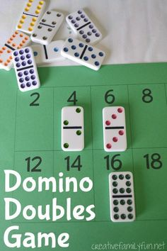 Practice your doubles addition facts with this simple, free printable Domino Doubles Game. It's a fun and easy math game for your elementary kids. #math #CreativeFamilyFun