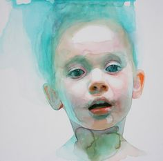 "Gorgeous watercolor paintings by American artist Ali Cavanaugh.  ""Immerse is an abandonment of the artist's hyper-representational aesthetic and, rather, embraces the fluidity and ungoverned nature of watercolor. In past paintings, her subjects were most often teenage women, emulating introverted emotion. Her young daughter now acts as her muse, embodying openness, honesty and forgiveness - traits that can likewise be used to characterize the temperament of the works. These significant c..."