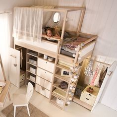 I've just found Spot High Sleeper Storage Kids Bed. This unique kids bunkbed comes with built-in shelves and drawers, and a walk-in closet space, illuminated with LED lights - perfect for mini-fashionistas, or den-builders!. £1,565.00