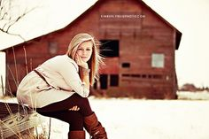 :D You don't need to stay indoors during the winter! lovely outdoor with red barn Indoor Senior Pictures, Winter Senior Pictures, Girl Senior Pictures, Winter Photos, Senior Girls, Senior Photos, Senior Portraits, Cute Photography, Winter Photography