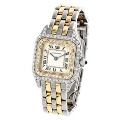 This fabulous Ladies Cartier Panthere Mini 18K Gold & Steel Two-Tone Vintage Diamond Watch showcases two tone solid 18K gold and stainless steel case set with 0.75 carats genuine round diamonds. This iconic ladies diamond watch is battery operated with a Swiss quartz movement. Featuring a stainless steel and 18K solid yellow gold with custom set diamonds bezel, 18K gold and stainless steel band with a hidden folding deployment clasp and an off white dial. Please note: this custom Cartier ...
