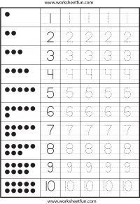 Number Tracing – One Worksheet / FREE Printable Worksheets – Worksheetfun Numbers Preschool, Learning Numbers, Math Numbers, Writing Numbers, Preschool Learning, Kindergarten Worksheets, Teaching Math, Preschool Activities, Number Writing Practice
