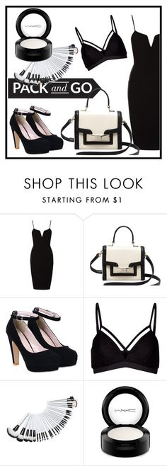 """""""pack and go in black and white"""" by rozns17 on Polyvore featuring Kate Spade, Lipsy, MAC Cosmetics, women's clothing, women, female, woman, misses and juniors"""