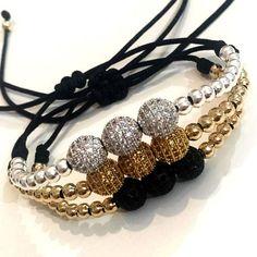 Set By Vila Veloni Threesome Zirconia Balls Silver- Gold- Black Set By Vila Veloni T Beaded Earrings, Beaded Jewelry, Jewelry Bracelets, Silver Bracelets, Bracelet Crafts, Jewelry Crafts, Handmade Bracelets, Handmade Jewelry, Do It Yourself Jewelry