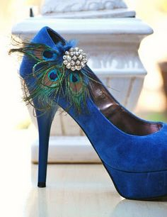 Love the peacock feathers on the royal blue shoe!