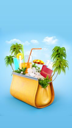 ↑↑TAP AND GET THE FREE APP! Art Creative Sky Bag Beach Travel Vacation Palms Sun Holiday HD iPhone 6 Wallpaper