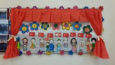 23 NİSAN PANOSU Preschool Art, Kindergarten Activities, Hobbies And Crafts, Diy And Crafts, Turkey Holidays, Teaching Letters, National Holidays, Color Crafts, School Decorations