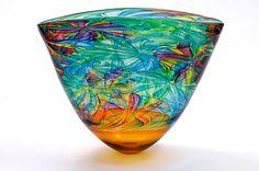 Bob Crooks Art-Glass 'Flower Bowl - Amber & Multicoloured' ♥≻★≺♥