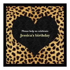 adorable cheetah print invitation