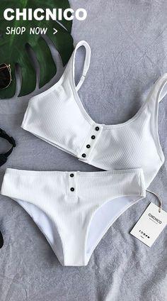 $28.99 Chicnico Simple Front Button Bikini Solid Color Bikini Set