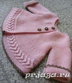 Жакет спицами для девочки, поперечное вязание