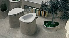 Concrete Bathroom Design Decorated with Planter by Art-Tic - The Great Inspiration for Your Building Design - Home, Building, Furniture and Interior Design Ideas Concrete Bathtub, Marble Bathtub, Laundry Room Remodel, Bathtub Remodel, Natural Bathroom, Simple Bathroom, Estilo Interior, Decoration Plante, Bathroom Plants