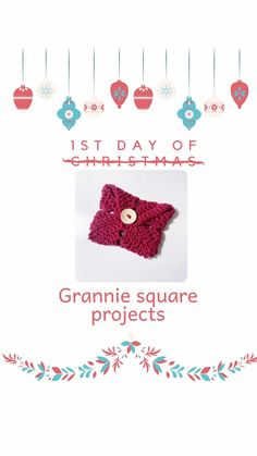 """Seona - Hooked on Crochet Club on Instagram: """"Day 1 of 12 days of Grannie Square Projects! A gift card holder... This one is made with a solid grannie square and DK weight cotton. 😊…"""" 1st Day, Crochet Hooks, Crochet Necklace, Card Holder, Club, Projects, Cards, Cotton, Gifts"""