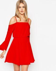 4de26e048d2 Платье с открытыми плечами и бретельками ASOS - Кремовый Latest Fashion  Clothes