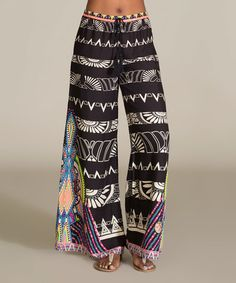 Love this Black & Ivory Geometric Palazzo Pants by Flying Tomato on #zulily! #zulilyfinds