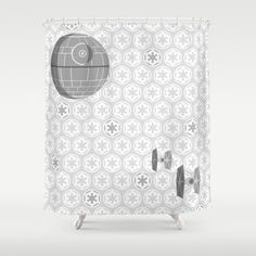 Star Wars Death Tie Fighters And Imperial Crest In Gray Shower Curtain By
