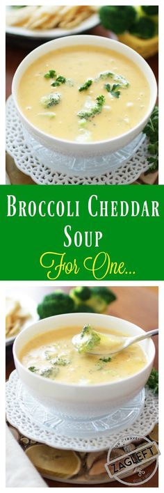 This Broccoli Cheddar Soup For One is adapted from my family's favorite Broccoli Cheddar Soup recipe. Creamy, extra cheesy and filled with broccoli. This single serving recipe will surely become your (Family Favorite Recipes) Single Serve Meals, Single Serving Recipes, One Person Meals, Meals For One, Recipes For One Person, Cooking For One, Batch Cooking, Greek Cooking, Kitchen Dishes