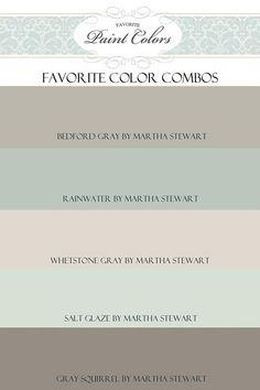 Martha Stewart Popular Paint Colors Rainwater, Whetstone Gray, Salt Glaze, Gray Squirrel #MarthaStewartPaintColor   Via Favorite Paint Colors.