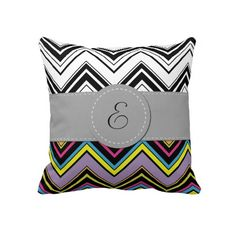 Monogrammed Zig Zag Stripes Lines Green Blue Pink Pillows