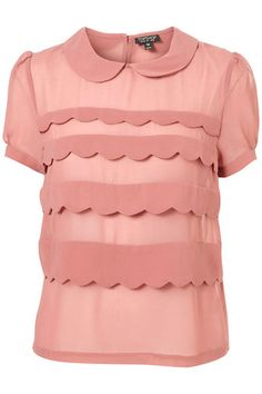 TOPSHOP DUSKY PINK SHORT SLEEVE SCALLOP TIERED PETER PAN COLLAR BLOUSE SIZE 12