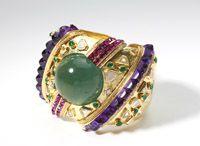 Lot# 094 A large Demner gem, diamond and gold bangle