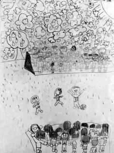 Soccer, 2007 (Age Graphite on paper by 11 inches (Note: Needs to be re-documented) The popcorn-esque cloud pattern was clearly a point of intere. Hair Patterns, Clouds Pattern, Light Hair, Shutter Speed, Graphite, Popcorn, Short Hair, Doodles