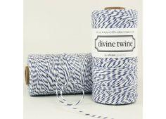 NAVY Blue Baker's Twine - Divine Twine - white stripes
