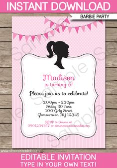 Free print barbie invitations birthday invitations printable and barbie party invitations birthday party editable diy theme template instant download 750 via filmwisefo