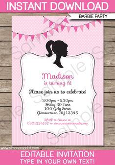 Barbie Party Invitations | Birthday Party | Editable DIY Theme Template | INSTANT DOWNLOAD $7.50 via SIMONEmadeit.com