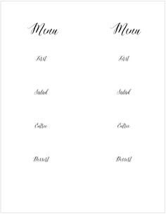 Reason To Celebrate  Menu Cards Menu And Printable Menu