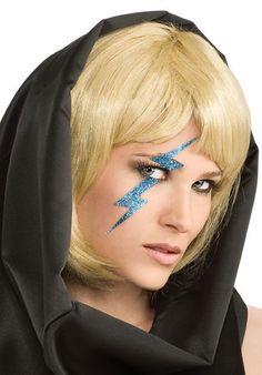 Lady Gaga Glitter Lightning Bolt Blue or Gold http://www.halloweencostumes4u.com/prods/rub-gaga-lightning-bolt.html
