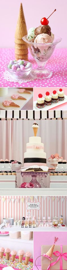 Fun ideas for an ice cream party. I really love those little dipped bananas.