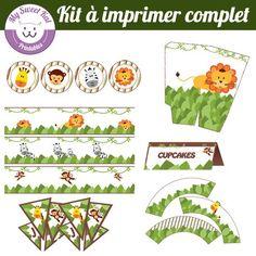 printable thème jungle, topper, wrapper pour cupcakes... pour anniversaire, fête, baptème