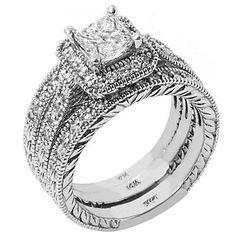 DIAMOND ENGAGEMENT RING HALO WEDDING BAND BRIDAL SET PRINCESS CUT 14K WHITE GOLD #TheJewelryMaster