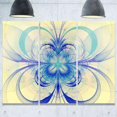 Fractal Flower Pattern - Floral Glossy Metal Wall Art - 36Wx28H