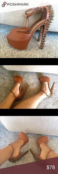 Studded Platform Peep Toe Heels New! Sz 7.5. Color is tan. Open to reasonable offer. Wild Pair Shoes Heels