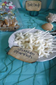 White chocolate starfish Little Mermaid Parties, The Little Mermaid, Rock Candy, Pirate Party, Coconut Flakes, Starfish, White Chocolate, Ariel, Twins