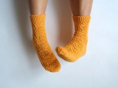 Hand knit socks pair perfectly with clogs and moccasins.