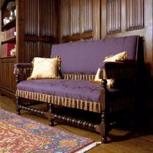 Charles II Settle, upholstered in Lucca. Designed and made by Stuart Interiors Mary Queen Of Scots, Soft Furnishings, Solid Oak, All Design, Oak Chairs, Stirling Castle, Home And Garden, Couch, Lucca