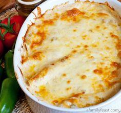 A delicious recipe for Chicken Enchiladas with a creamy White Sauce. #recipe