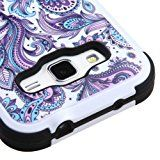 Samsung Galaxy Prevail LTE / Galaxy Core Prime G360 Case, Kaleidio [Natural TUFF] Dual Layer Hybrid Cover w/ Kickstand [Includes a Overbrawn Prying Tool & Stylux Stylus] [Blue & Purple Paisley]