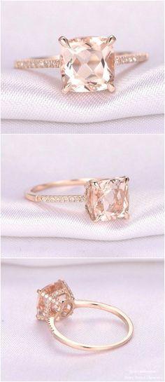 8mm Cushion cut Pink Morganite Engagement Ring / http://www.deerpearlflowers.com/rose-gold-engagement-rings-from-milegem/2/ #silverweddingring #UniqueEngagementRings #cushioncutengagementring